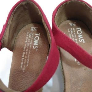 Toms Shoes - TOMS RED PEEP TOE ESPADRILLE WEDGES WOMEN SIZE 8M.